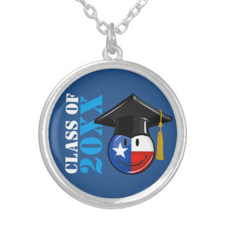 Proud Texas Graduate Smiling Flag Silver Plated Necklace
