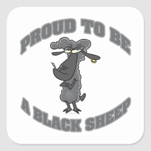 proud to be a black sheep square sticker
