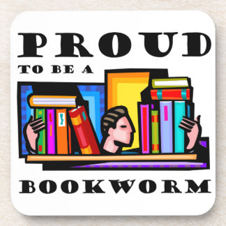 Proud to be a bookworm. Book lover among books Coaster