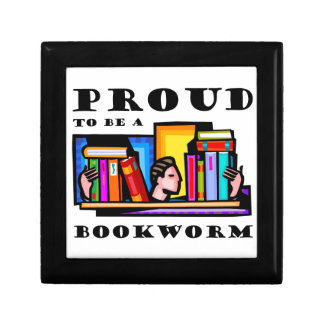 Proud to be a bookworm. Book lover among books Keepsake Box