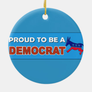 PROUD TO BE A DEMOCRAT Double-Sided CERAMIC ROUND CHRISTMAS ORNAMENT