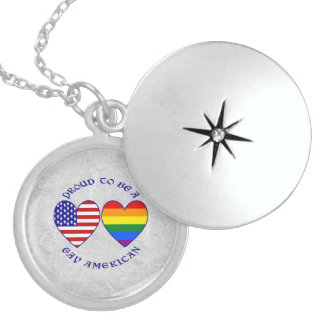 Proud to be a Gay American Round Locket Necklace