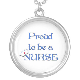 Proud to be a nurse with cap silver plated necklace