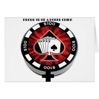 PROUD TO BE A POKER CHICK GREETING CARD