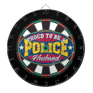 Proud to be a Police Husband Dartboard With Darts