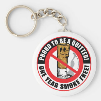 Proud To Be A Quitter 1 Year Basic Round Button Keychain