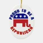 Proud To Be A Republican Original Double-Sided Oval Ceramic Christmas Ornament