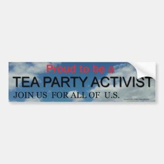 PROUD TO BE A TEA PARTY ACTIVIST BUMPER STICKER