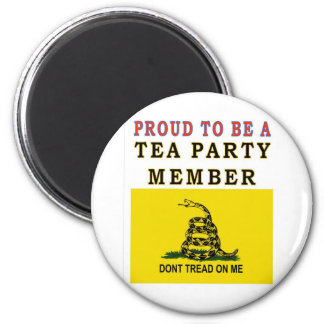 PROUD TO BE A TEA PARTY MEMBER 2 INCH ROUND MAGNET