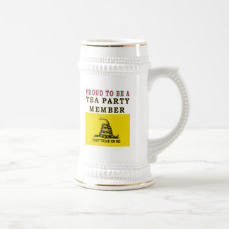 PROUD TO BE A TEA PARTY MEMBER 18 OZ BEER STEIN