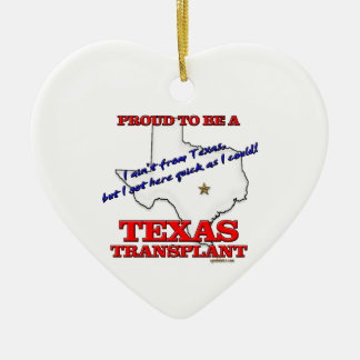 Proud to be a Texas Transplant! Double-Sided Heart Ceramic Christmas Ornament
