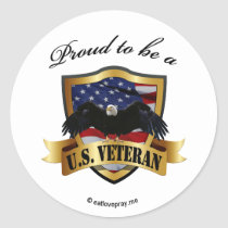 Proud to be a U.S. Veteran Classic Round Sticker