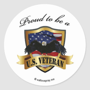 Proud to be a U.S. Veteran Classic Round Sticker