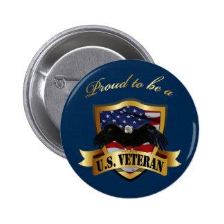 Proud to be a U.S. Veteran - navy blue Button