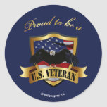 Proud to be a U.S. Veteran - navy blue Stickers