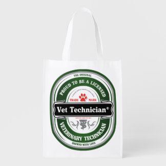 proud to be a vet tech tote reusable grocery bags