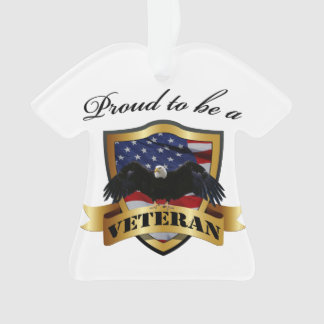 Proud to be a Veteran - Bald Eagle and US Flag Ornament
