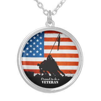 Proud to be a Veteran Round Pendant Necklace