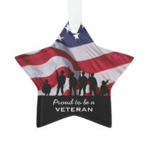 Proud to be a Veteran - Soldiers silhouette Ornament