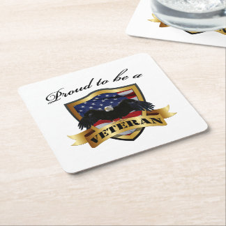 Proud to be a Veteran - Soldiers silhouette Square Paper Coaster