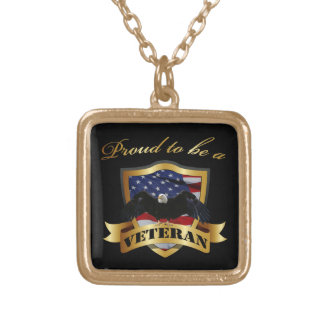 Proud to be a Veteran Square Pendant Necklace