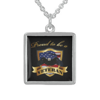 Proud to be a Veteran - Sterling Silver Square Pendant Necklace