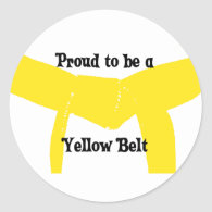 Proud to be a Yellow Belt Round Sticker