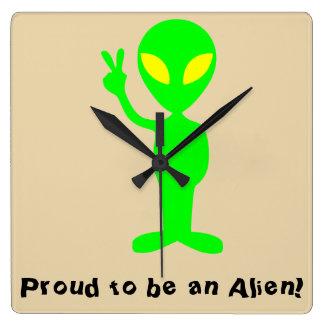 """""""Proud to be an Alien"""" Green Alien Wall Clock"""