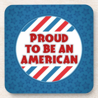 Proud to be an American Patriotic Cork Coaster