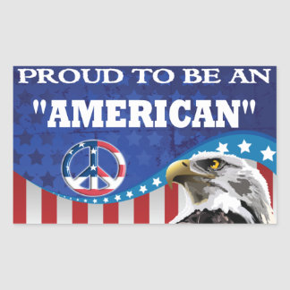 PROUD TO BE AN AMERICAN RECTANGULAR STICKER