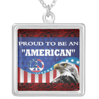 PROUD TO BE AN AMERICAN SQUARE PENDANT NECKLACE