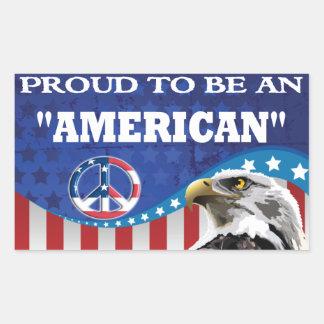 PROUD TO BE AN AMERICAN RECTANGULAR STICKER