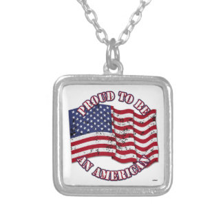 Proud To Be An American With USA Flag distressed Personalized Necklace