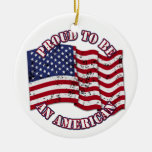 Proud To Be An American With USA Flag distressed Double-Sided Ceramic Round Christmas Ornament