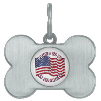 Proud To Be An American With USA Flag distressed Pet ID Tag