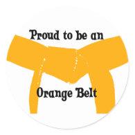 Proud to be an Orange Belt Round Sticker
