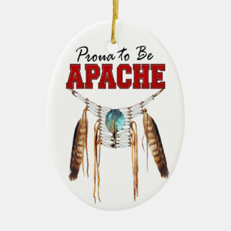 Proud to be Apache Double-Sided Oval Ceramic Christmas Ornament