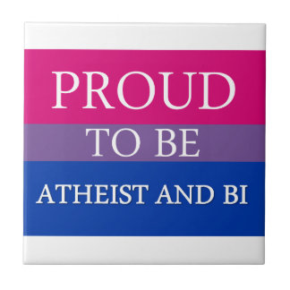 Proud To Be Atheist and Bi Small Square Tile