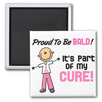 Proud To Be Bald Breast Cancer Stick Figure Fridge Magnets