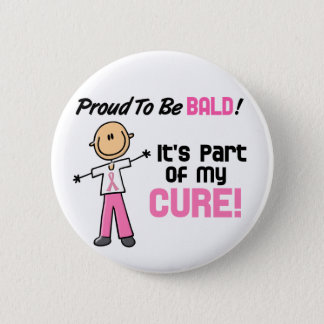 Proud To Be Bald Breast Cancer Stick Figure Pinback Button