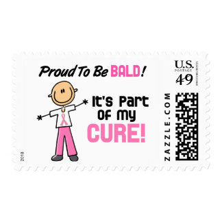 Proud To Be Bald Breast Cancer Stick Figure Postage