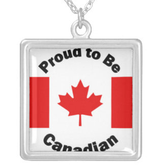 Proud to Be Canadian Flag Design Silver Plated Necklace