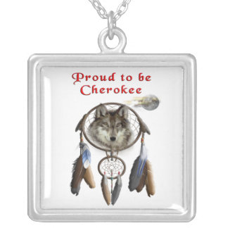 proud to be cherokee silver plated necklace