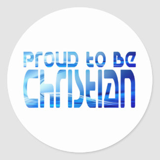 Proud to be Christian Bleu 2 Classic Round Sticker