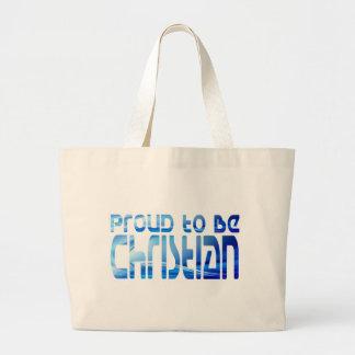 Proud to be Christian Bleu 2 Large Tote Bag