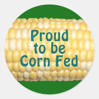 """Proud to be Corn Fed"" Corn on Cob Sticker"