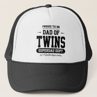 Proud To Be Dad Of Twins Superdad Dept. Black Trucker Hat