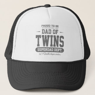 Proud To Be Dad Of Twins Superdad Dept. Trucker Hat
