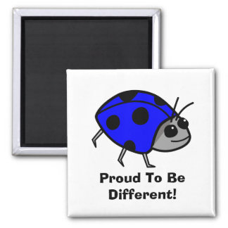 Proud To Be Different Blue Ladybug 2 Inch Square Magnet