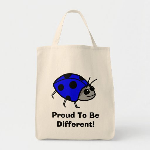 Proud To Be Different Blue Ladybug Canvas Bags